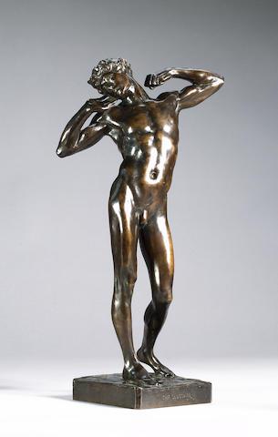 Lord Frederick Leighton (English, 1830-1896): A late 19th century bronze figure of 'The Sluggard'