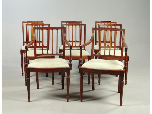 A Set of eight Sheraton style mahogany chairs