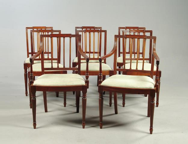 A Set of eight Sheraton style mahogany chairs