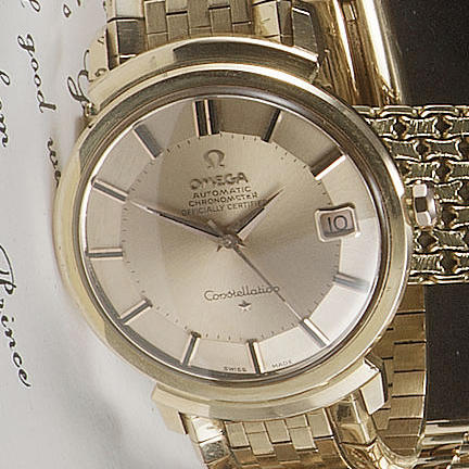 Omega.An 18ct rose gold automatic calendar bracelet watch 1960s