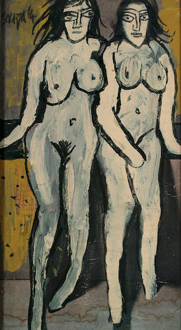 Francis Newton Souza (British/Indian, 1924-2002) Two Female Nudes 13 x 7 in. (33 x 18cm.)