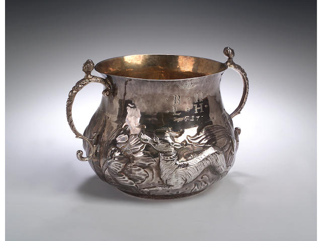 A Charles II porringer, makers mark of WS with pellets see Jackson p134, London 1677