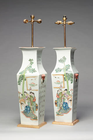 A pair of late 19th / early 20th century Chinese export porcelain vases