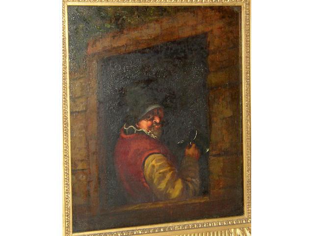 Manner of Adriaen van Ostade, 19th Century Drinker at a tavern windowoil on panel, 30 x 24.5cm (11¾ x 9½in).