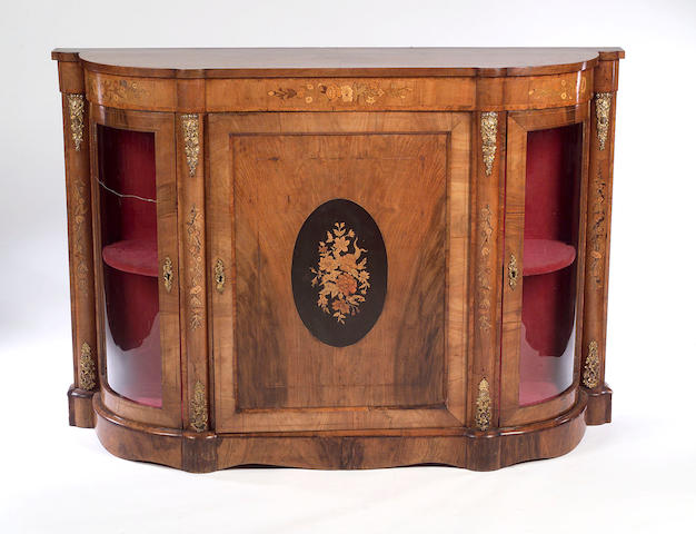 A Victorian walnut and inlaid Side Cabinet,