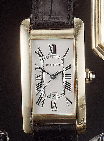 Cartier. An 18ct gold rectangular automatic centre seconds calender wristwatch Tank American, 1990s