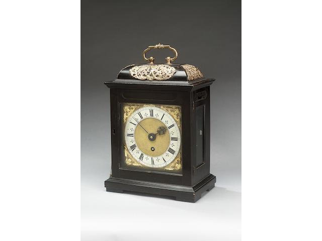 A fine and rare quarter repeating ebony veneered bracket timepiece John Knibb, Oxon Fecit