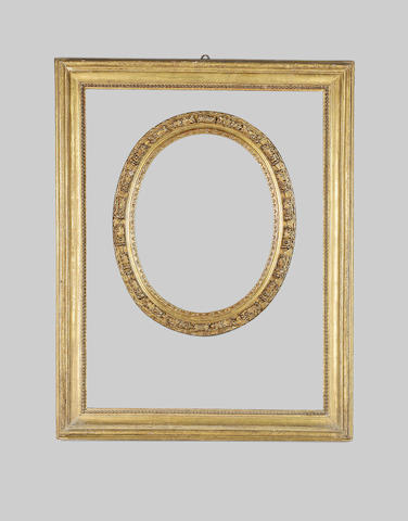 An Italian early 18th Century carved and gilded frame of Salvator Rosa section,