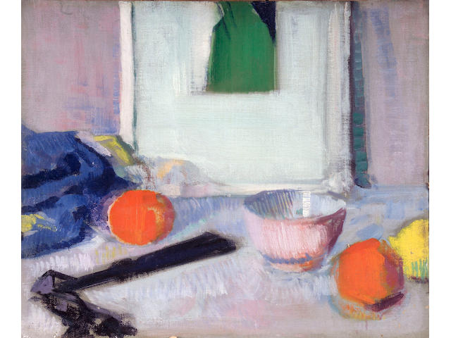 Francis Campbell Boileau Cadell RSA RSW (1883-1937) Still life of picture, fruit and fan 37.5 x 45cm (14 3/4 x 17 3/4ins)