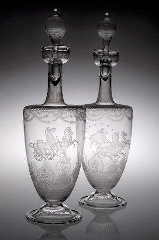 A fine pair of engraved glass decanters and stoppers, possibly Scottish or Stourbridge, circa 1865,