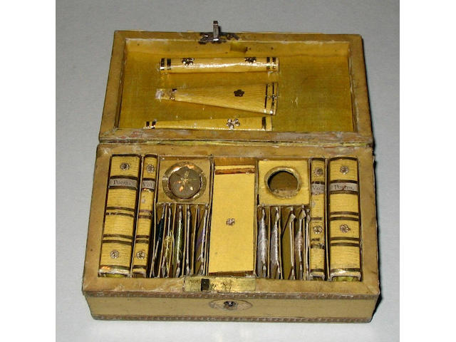 A Regency yellow paper and gilt foil decorated child's rectangular work box,