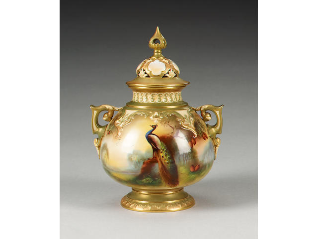 A Royal Worcester pot pourri vase and cover by Arthur C Lewis, dated 1906,