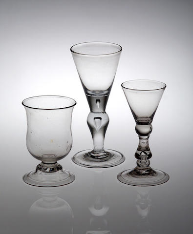 A baluster gin glass, circa 1725,