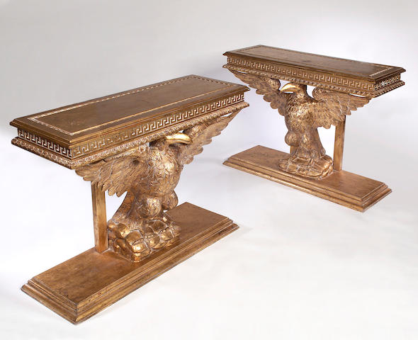 A pair of George II style giltwood Console Tables,