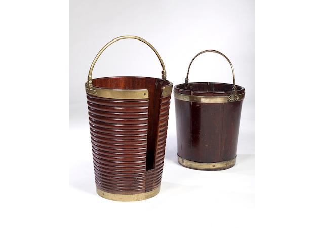 A George III mahogany and brass bound peat Bucket,