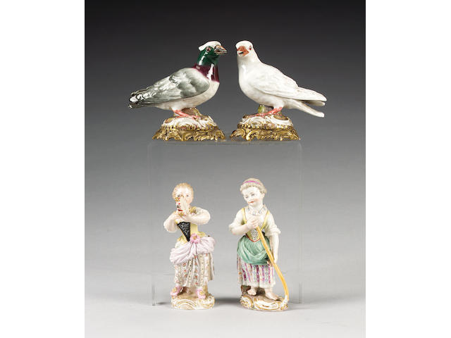 A pair of Meissen models of exotic birds on gilt metal stands, circa 1880,