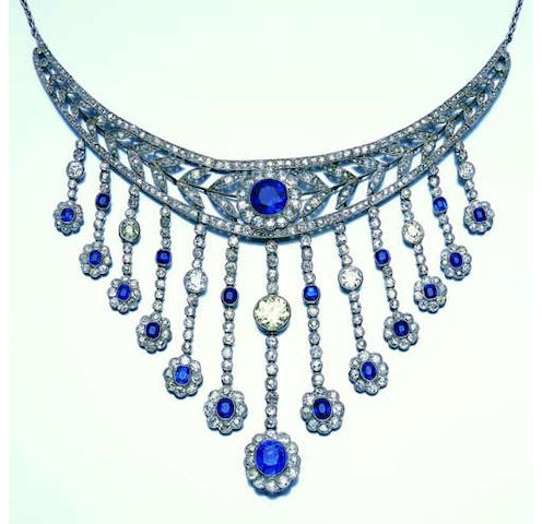 A belle époque sapphire and diamond fringe necklace
