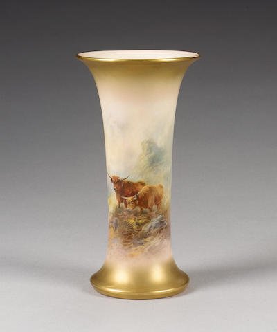 A Royal Worcester vase by John Stinton, dated 1924,