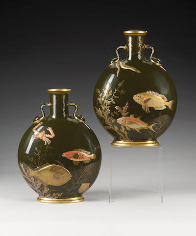 A pair of Mintons moon flasks, dated 1881,