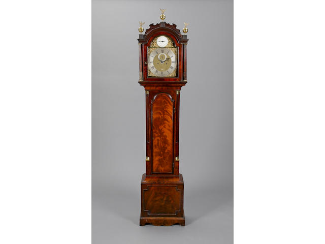 A rare late 18th century brass mounted mahogany longcase clock with alarm John Sidaway, London