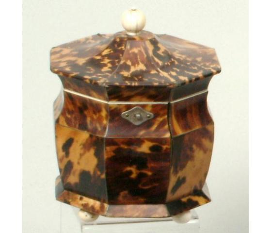 A late George III tortoiseshell tea caddy,