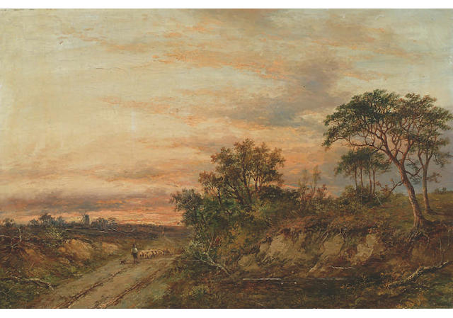 Joseph Thors (fl.1863-1900) 'View in the Yorkshire moors' 40 x 61cm