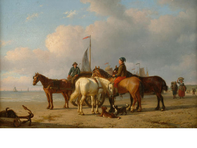 Willem Carel Nakken (1835-1926 Dutch) 'Horses and figures on a beach with fishing boats beyond' 31 x 48cm (12 x 19in)