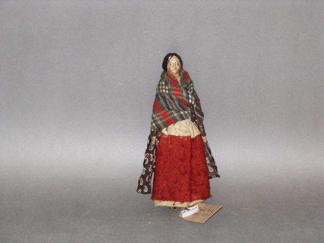 Papier mache shoulder head doll, German circa 1840