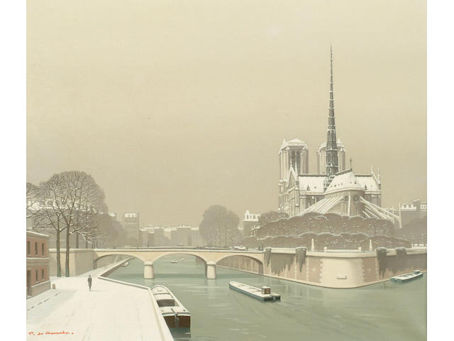 Pierre de Clausades (1910-1976 French) 'Neige sur la cite, Paris' 45 x 52cm (17 3/4 x 20 1/2in)