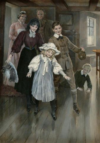 Percy Tarrant (fl.1881-1930) 'Grandmother's Footsteps' 28 x 20cm