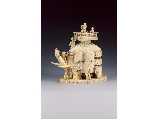 A sectional ivory okimono of an elephant,