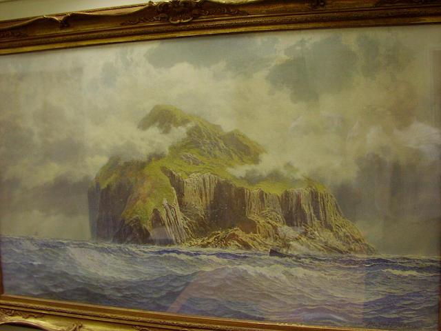 """Sir Francis Powell RWS PRSW (1833-1914) """"Ailsa Craig"""" 74 x 133cm (29 x 52 1/2ins)"""
