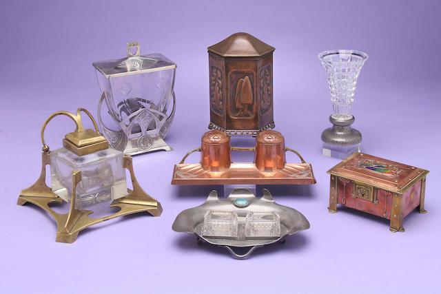 A copper tea caddy,