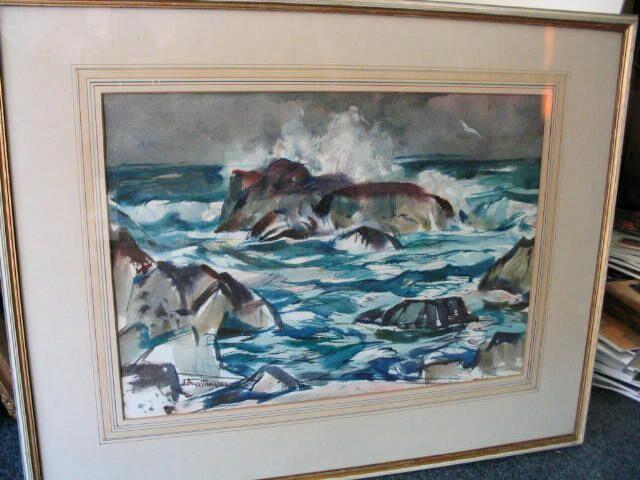 "Adam Bruce Thomson OBE RSA PRSW HRSW (1885-1976) ""Seascape, St. Abbs"" 38 x 54cm (15 x 21 1/4ins)"