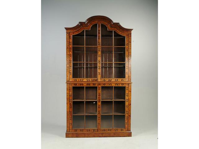 A 19th century Dutch walnut floral marquetry display cabinet