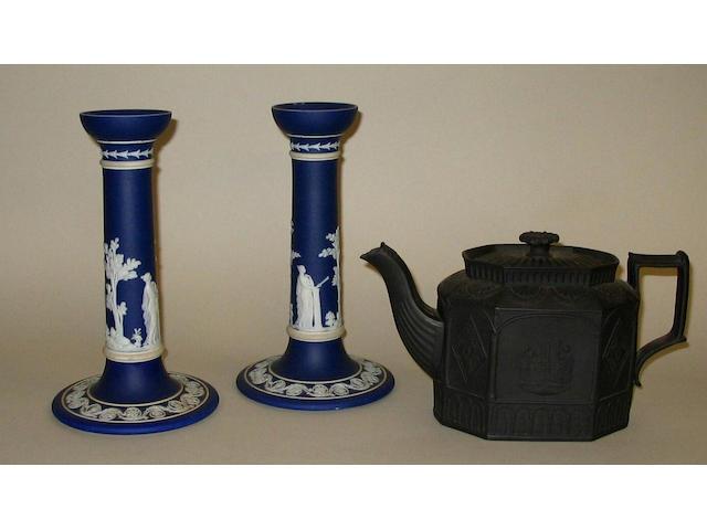 A pair of Wedgwood blue dip jasper candlesticks,