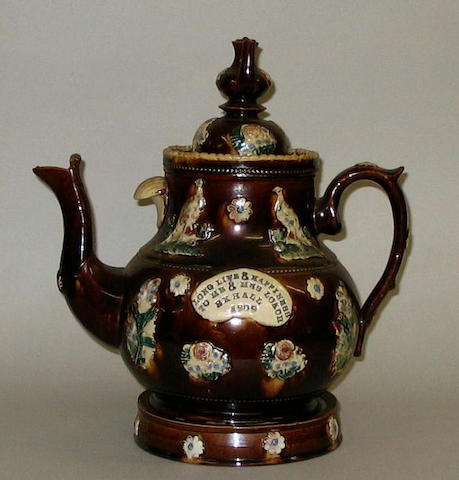 A Barge Ware teapot, cover and stand,