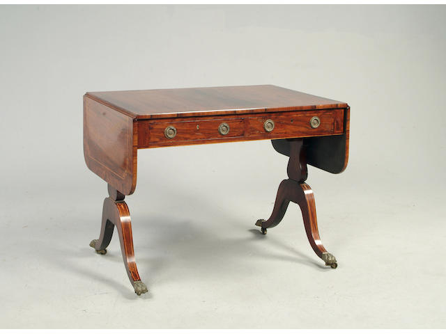 A Regency rosewood and burr yew banded sofa table