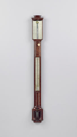 A good early 19th century mahogany 'flat to the wall' bow front stick barometer  Thomas Jones, 62 Ch