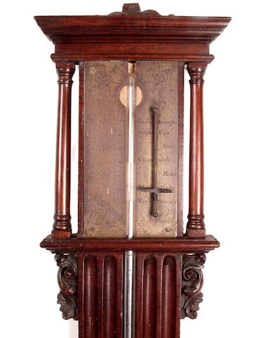 An 18th Century mahogany cased stick barometer indistinctly signed and dated 1764,