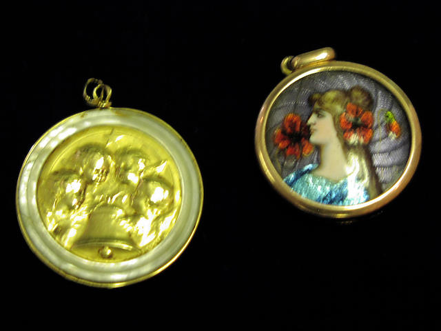 An Arts and Crafts enamelled pendant and a gold and mother of pearl pendant