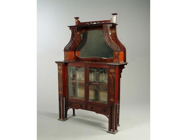 English Art Nouveau, circa 1910 A mahogany and marquetry vitrine