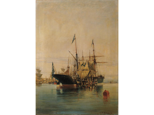 Constantinos Volanakis (Greek 1837-1907) Harbour scene 55 x 40 cm. (21 5/8 x 15 3/4 in.)