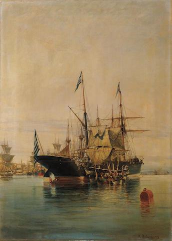 Constantinos Volanakis (Greek 1837-1907) Harbour scene 55 x 40 cm. (21 5/8 x 15 3/4 in.)