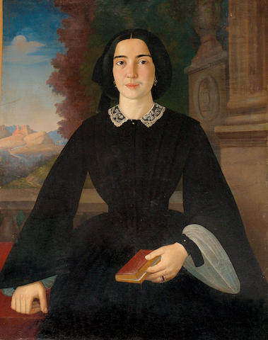 Francesco Pige (Italian 1822-1862) The portrait of Penelope Deligiorghis – Drossini 94 x 73.5 cm. (37 x 29 in.)