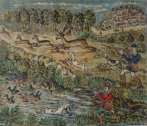 Theofilos (Hadjimichail) (Greek 1871-1934) Hunting scene 59 x 69 cm. (23 1/4 x 28 in.)