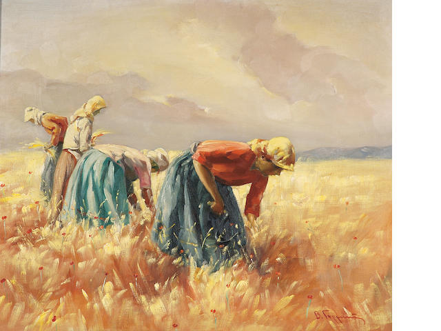 Vassilis Germenis (Greek 1896-1966) Harvesting 60 x 71.5 cm. (23 3/4 x 28 in.)