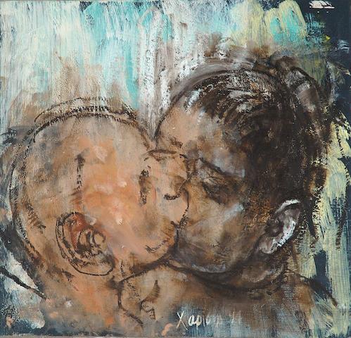 Elias Harissis (Greek b. 1957) The kiss 34 x 35.5 cm. (13 1/2 x 14 in.)