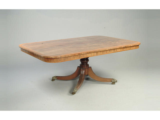 A George IV mahogany and satinwood crossbanded breakfast table,