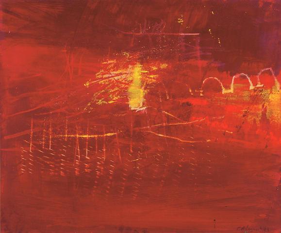 Yannis Adamakos (Greek b. 1952) Red landscape 45 x 54 cm. (17 3/4 x 21 1/4 in.)